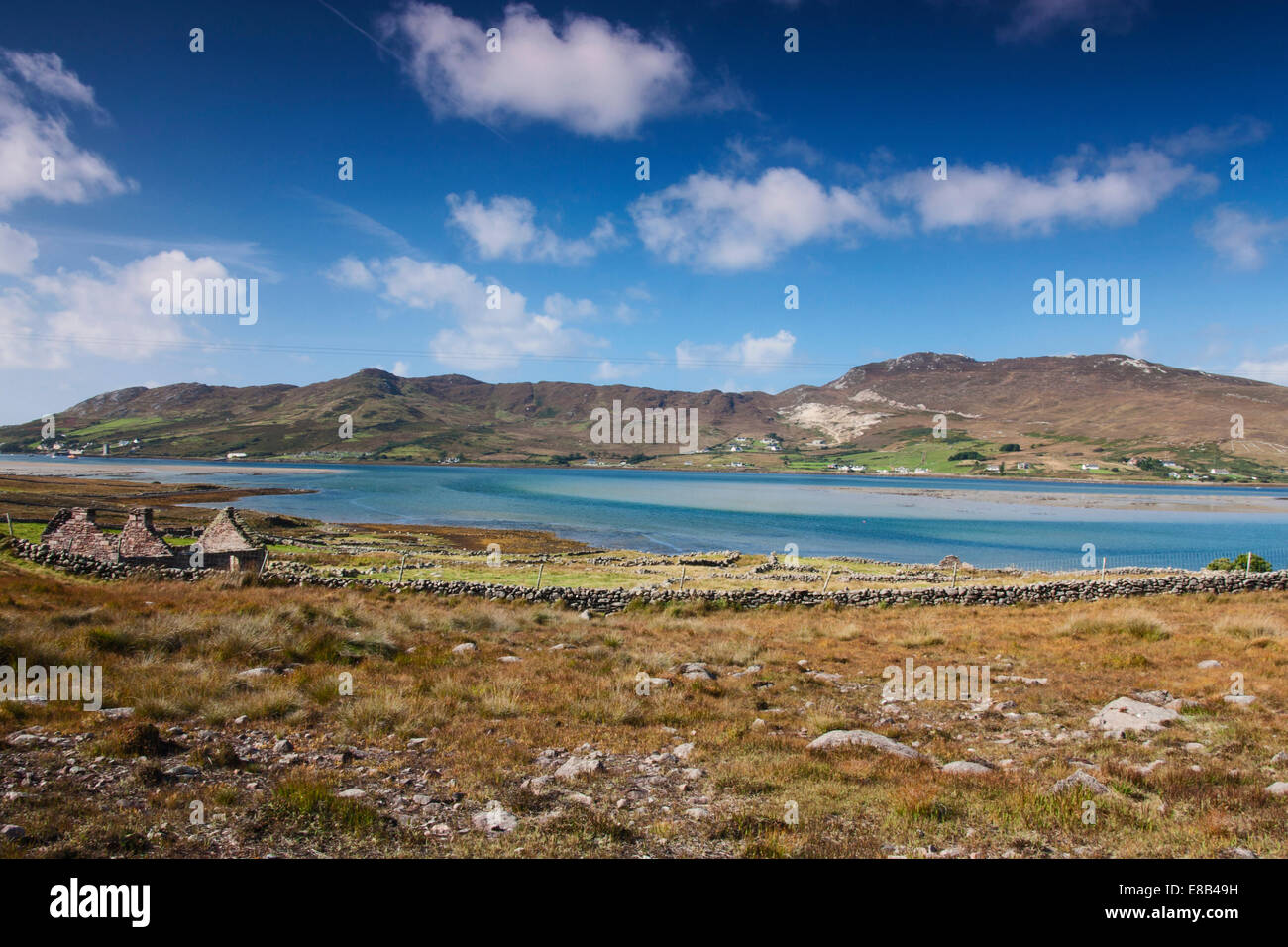 Glassillaun, Mayo, Ireland, 26th September 2014, Achill Island lifeboat station as seen from Glassillaun - Stock Image