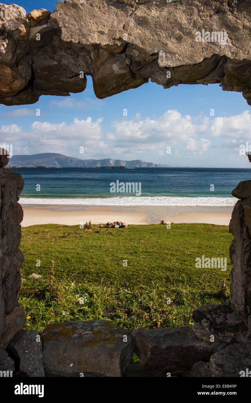 Keem Strand, Achill Island, Mayo, 26th September 2014, looking out over Keem Strand and the Mayo coastline on Irelands - Stock Image