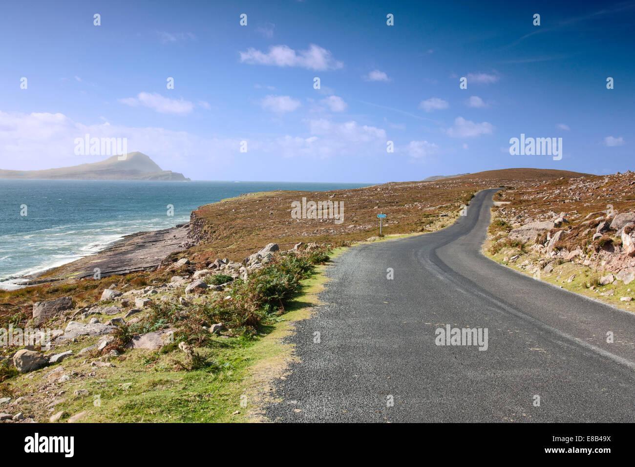coast road, Achill, Mayo, September 26th 2014, Along the Wild Atlantic Way, Achill Island, Mayo, Ireland - Stock Image