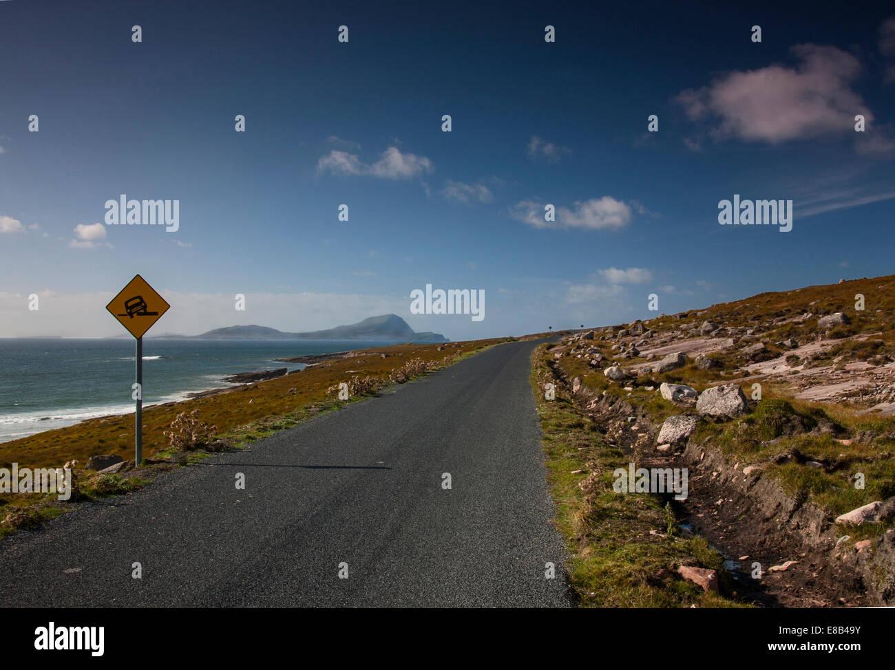coast road, Achill, Mayo, September 26th 2014, Along the Wild Atlantic Way to Achill Island County Mayo on Irelands - Stock Image