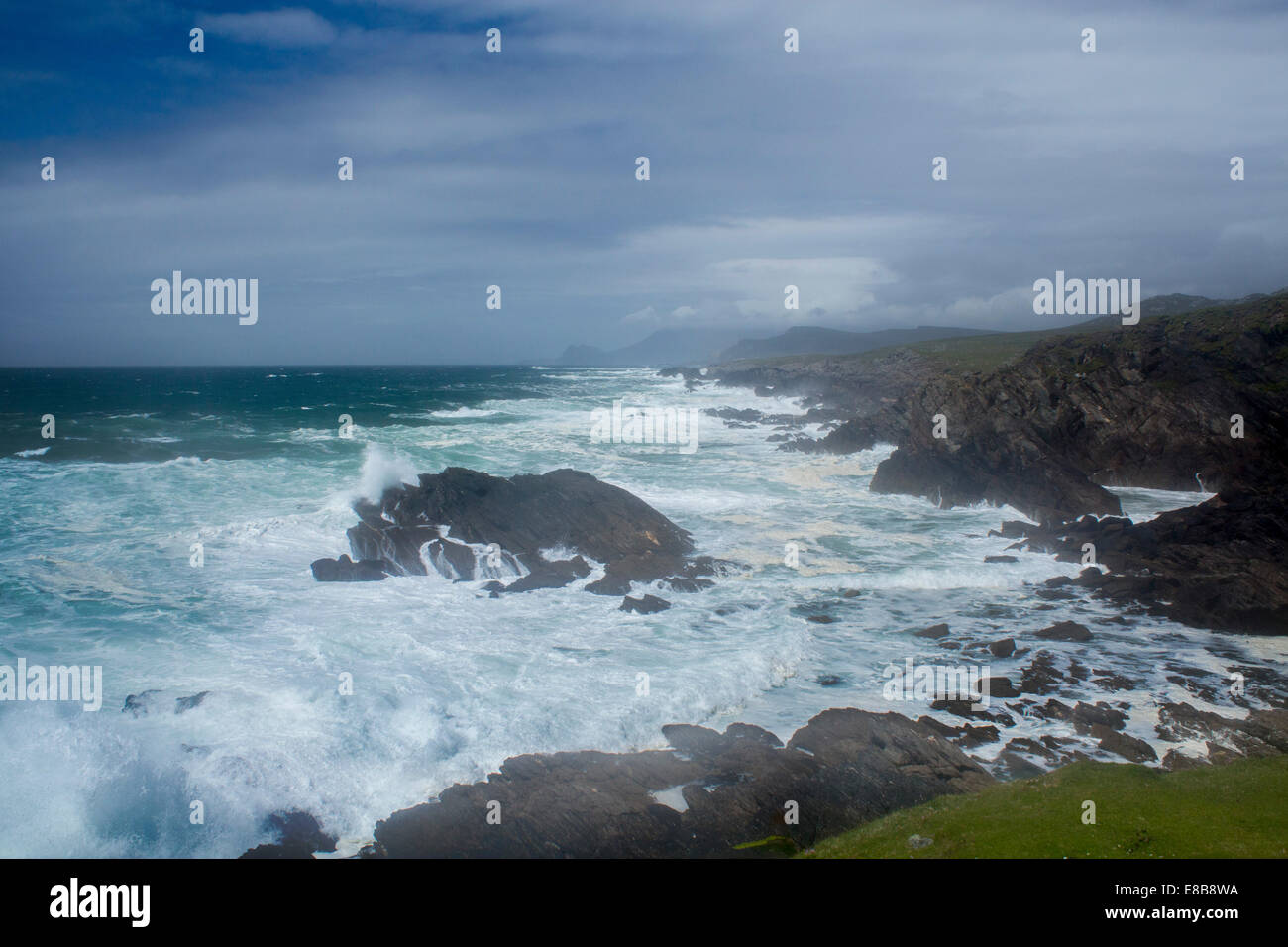 Achill Island County Mayo Eire Republic of Ireland stormy Atlantic Ocean sea west coast rocky - Stock Image