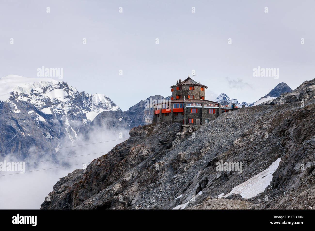 Tibet hotel at the top of the Stelvio Pass, South Tyrol, Italy - Stock Image