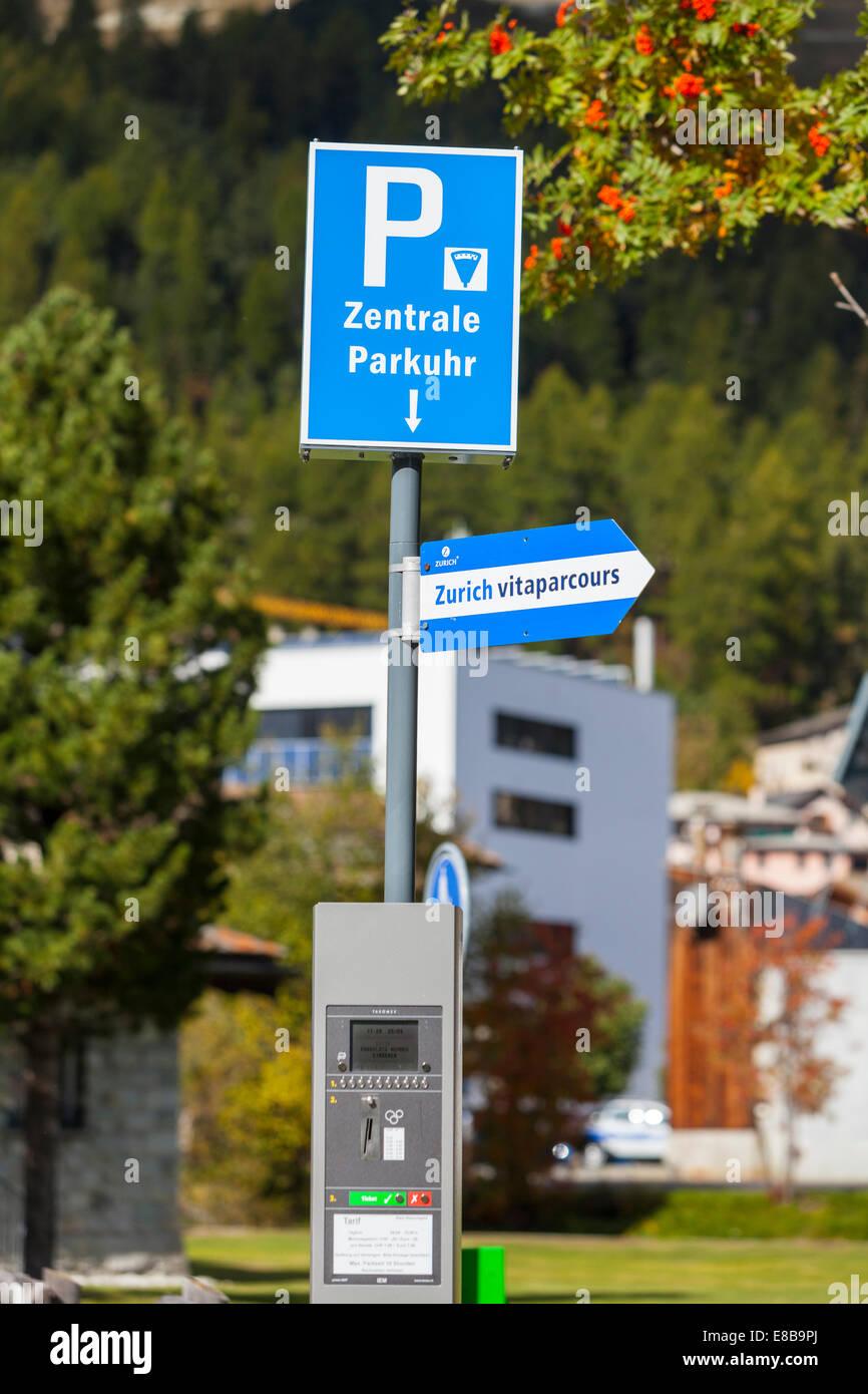 Car parking meter in St Moritz, Graubunden, Switzerland - Stock Image