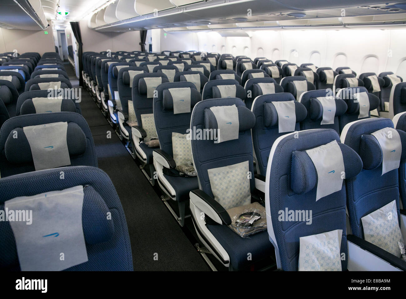 Dulles International Airport, Virginia, USA. 2nd October, 2014. The World Traveller (coach) section of British Airways - Stock Image