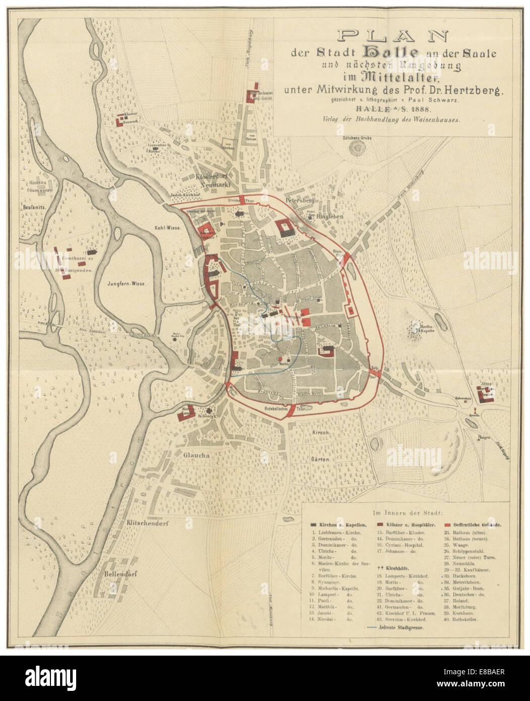 HERTZBG(1) p561 Plan der Stadt Halle an der Saale im Mittelalter - Stock Image