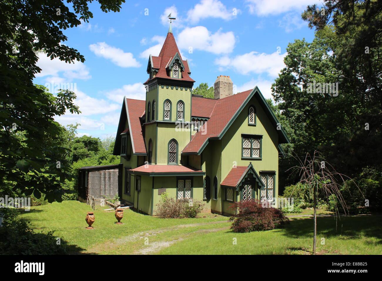 gothic revival house new brighton staten island new york stock