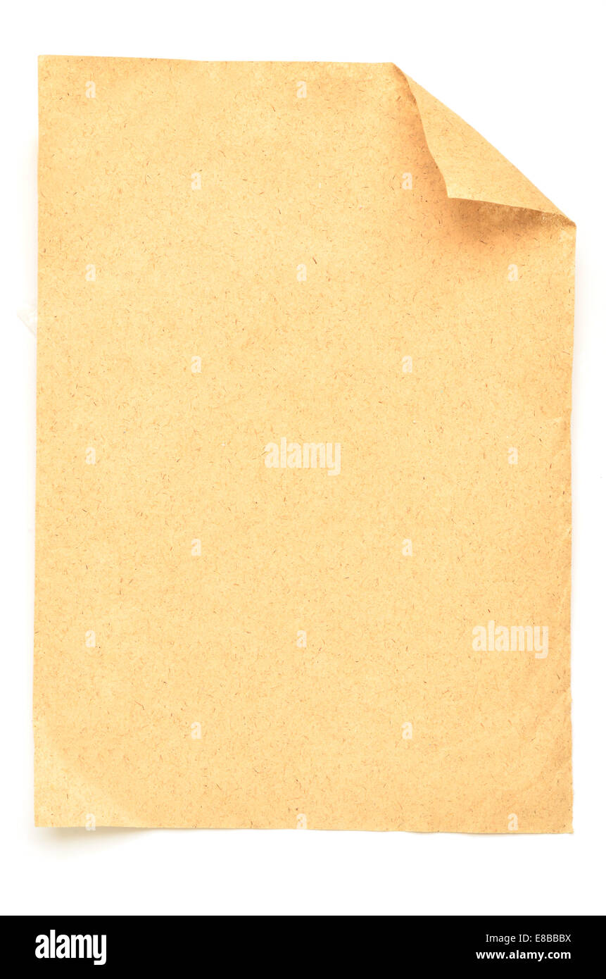 Vintage paper isolated on white - Stock Image