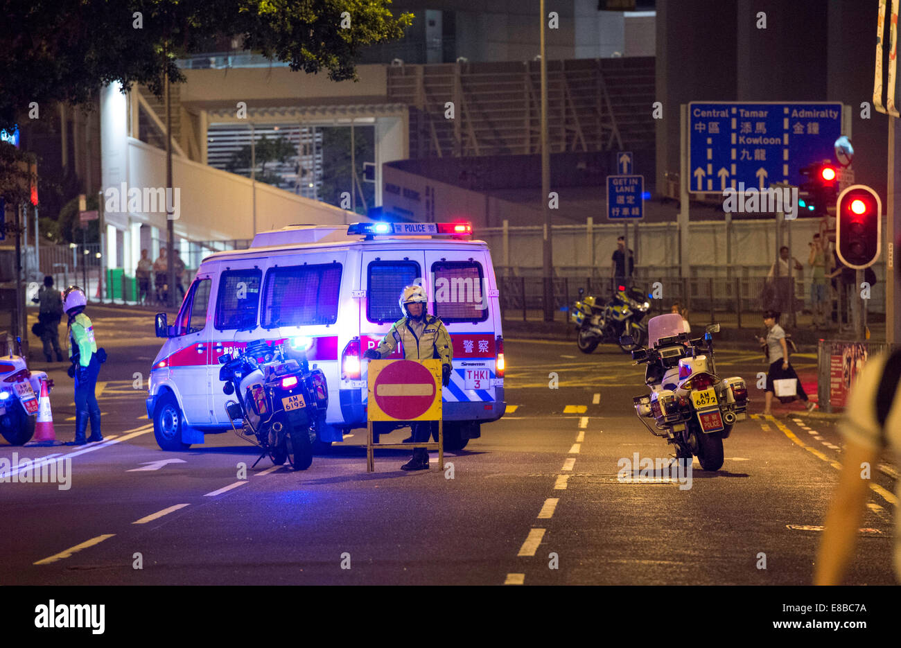 The first night of active protesting by students in Hong Kong saw the areas up to the US Embassy on Garden Road - Stock Image