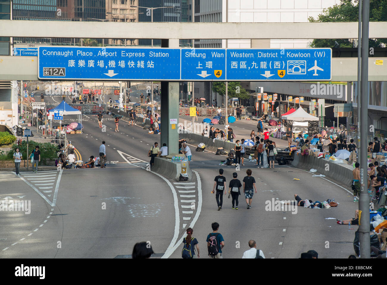 Empty streets where normally peak hour traffic would be bumper to bumper.Admiralty looking towards Central - Stock Image