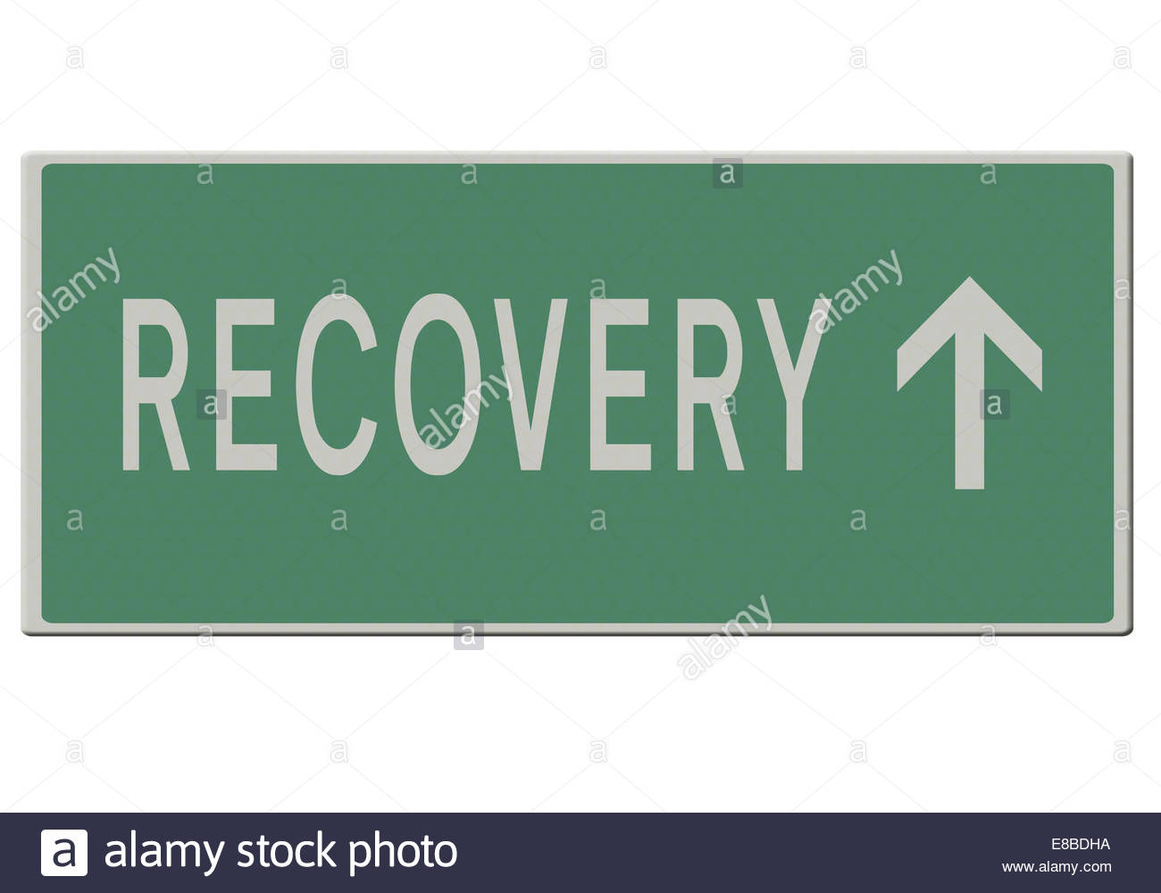 Digital illustration - Road sign - The road to recovery. - Stock Image