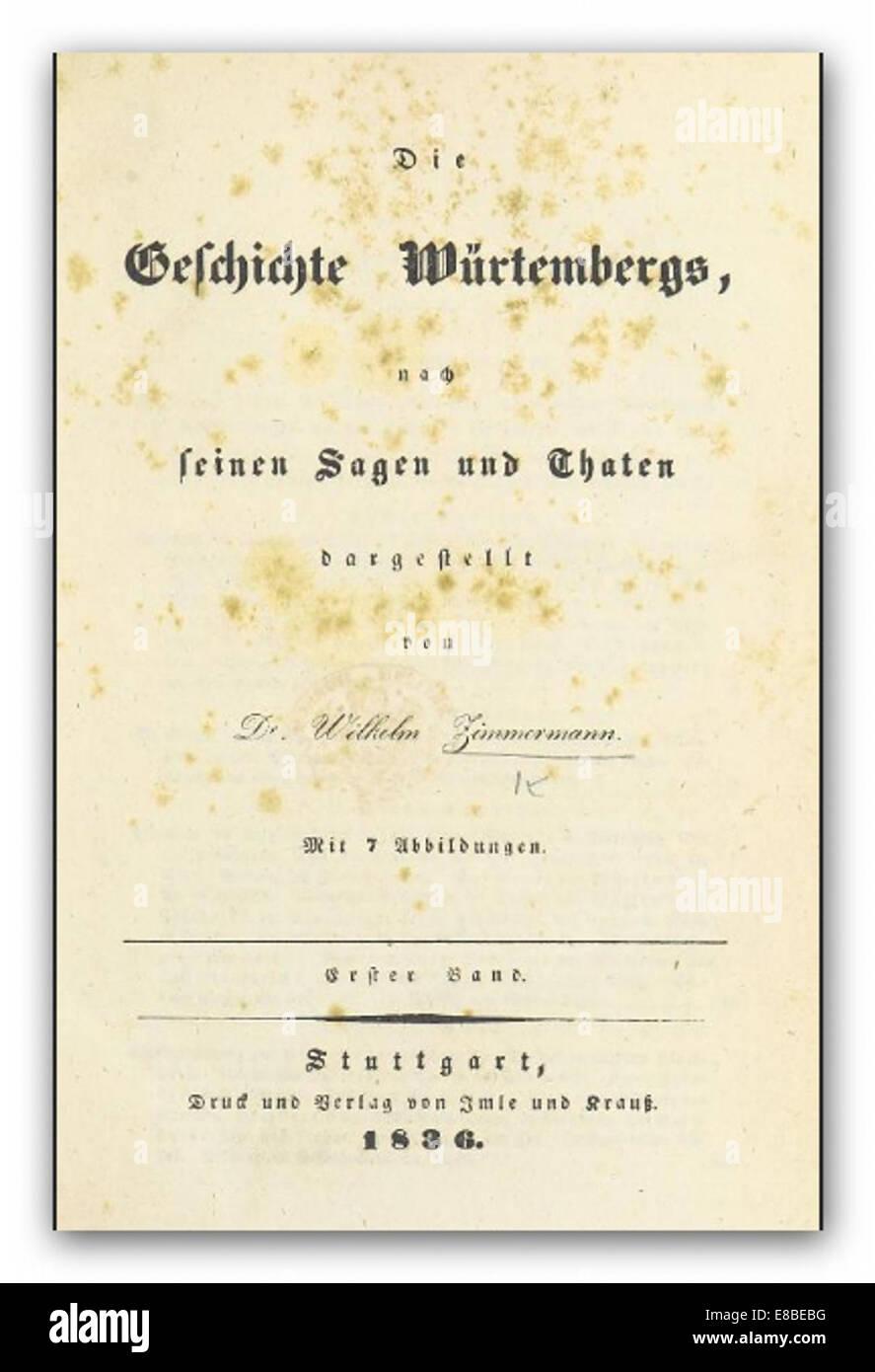 ZIMMERMANN(1836) Gesch. WC3BCrtembergs 1.Bd - Stock Image