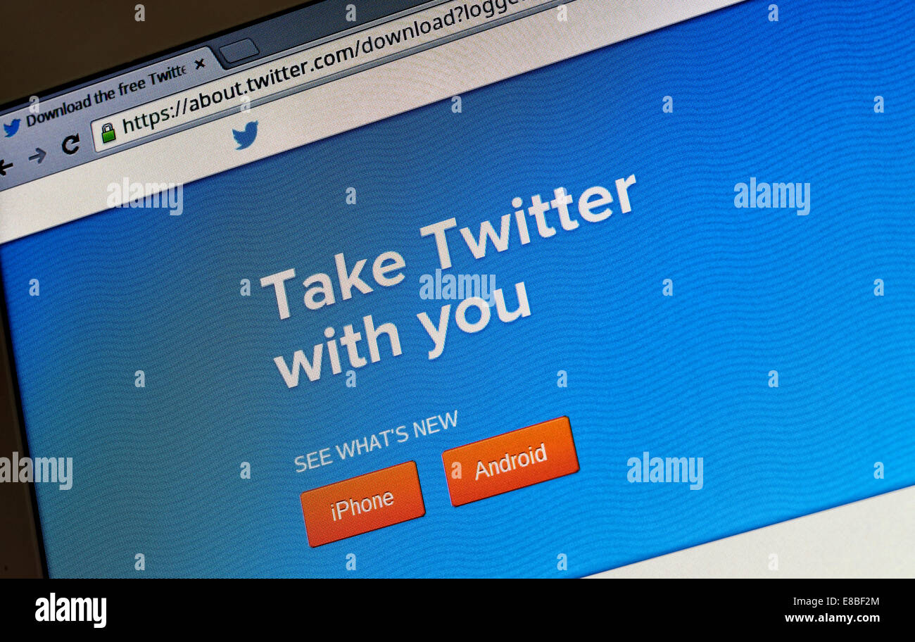 Twitter splash screen on a laptop computer Stock Photo