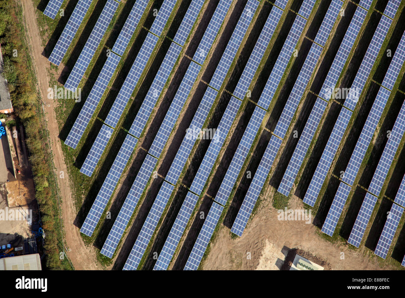 aerial view of solar panels on a solar farm in Lincolnshire - Stock Image