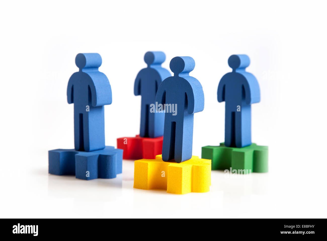 concept of teamwork, people and icons - Stock Image