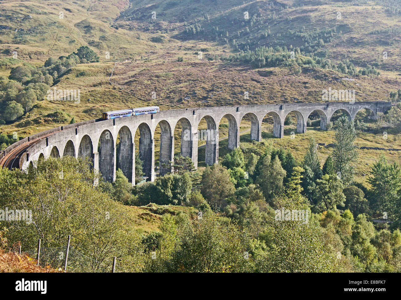 Scotrail Class 56 DMU is traversing the Glenfinnan Viaduct at Glenfinnan Highland Scotland en route from Mallaig - Stock Image