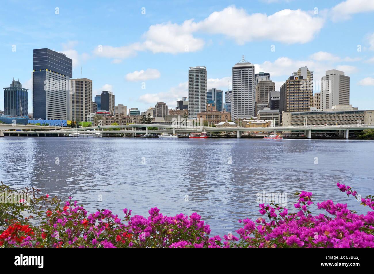 BRISBANE, AUS - SEP 24 2014:Brisbane Skyline.It's Queenslands administrative, educational, and cultural capital. - Stock Image
