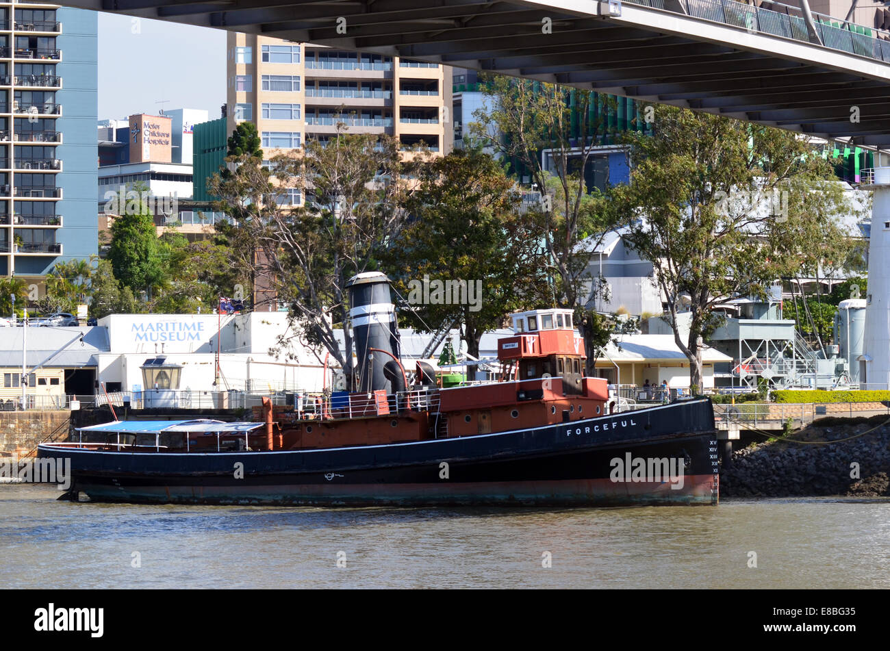 BRISBANE, AUS - SEP 25 2014:Forceful, ocean-going tugboat, docked at the Queensland Maritime Museum.With wide range - Stock Image