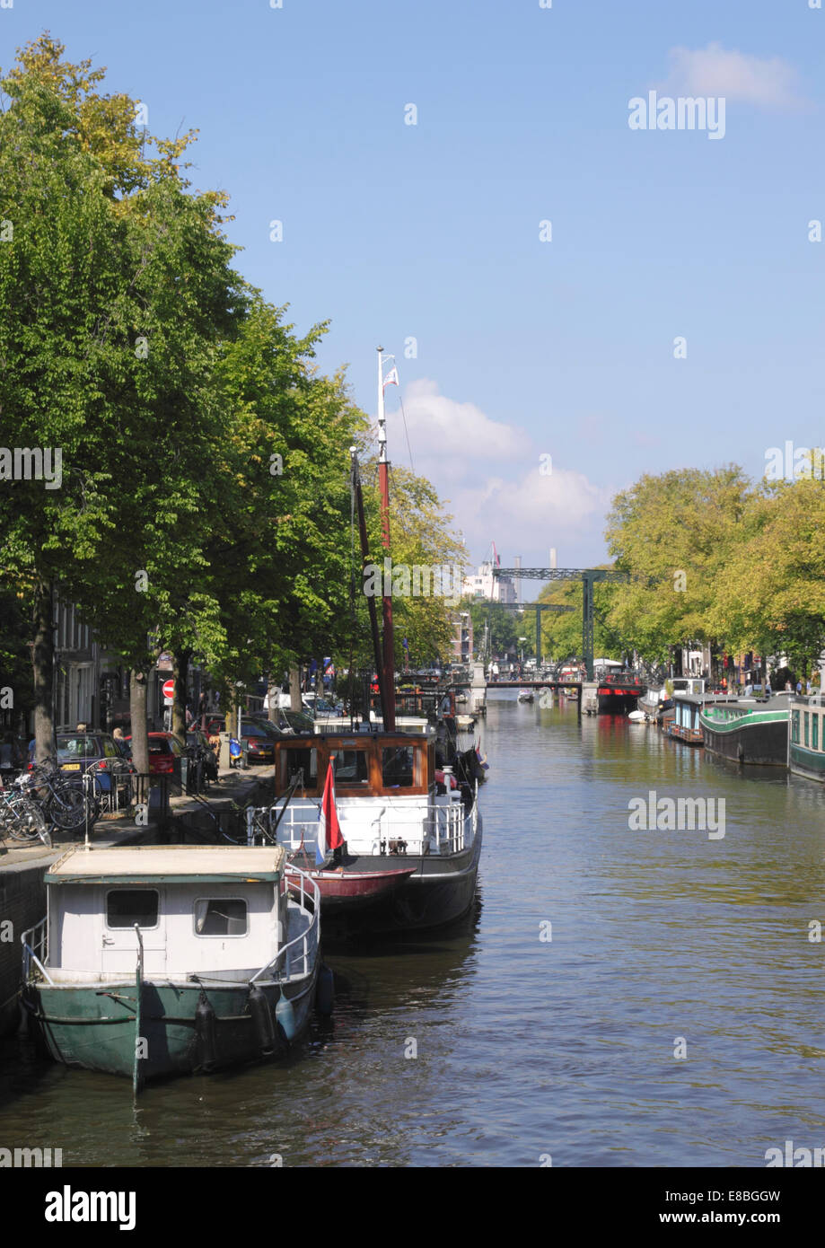 Brouwersgracht Canal in Western Canal Ring District Amsterdam Holland - Stock Image
