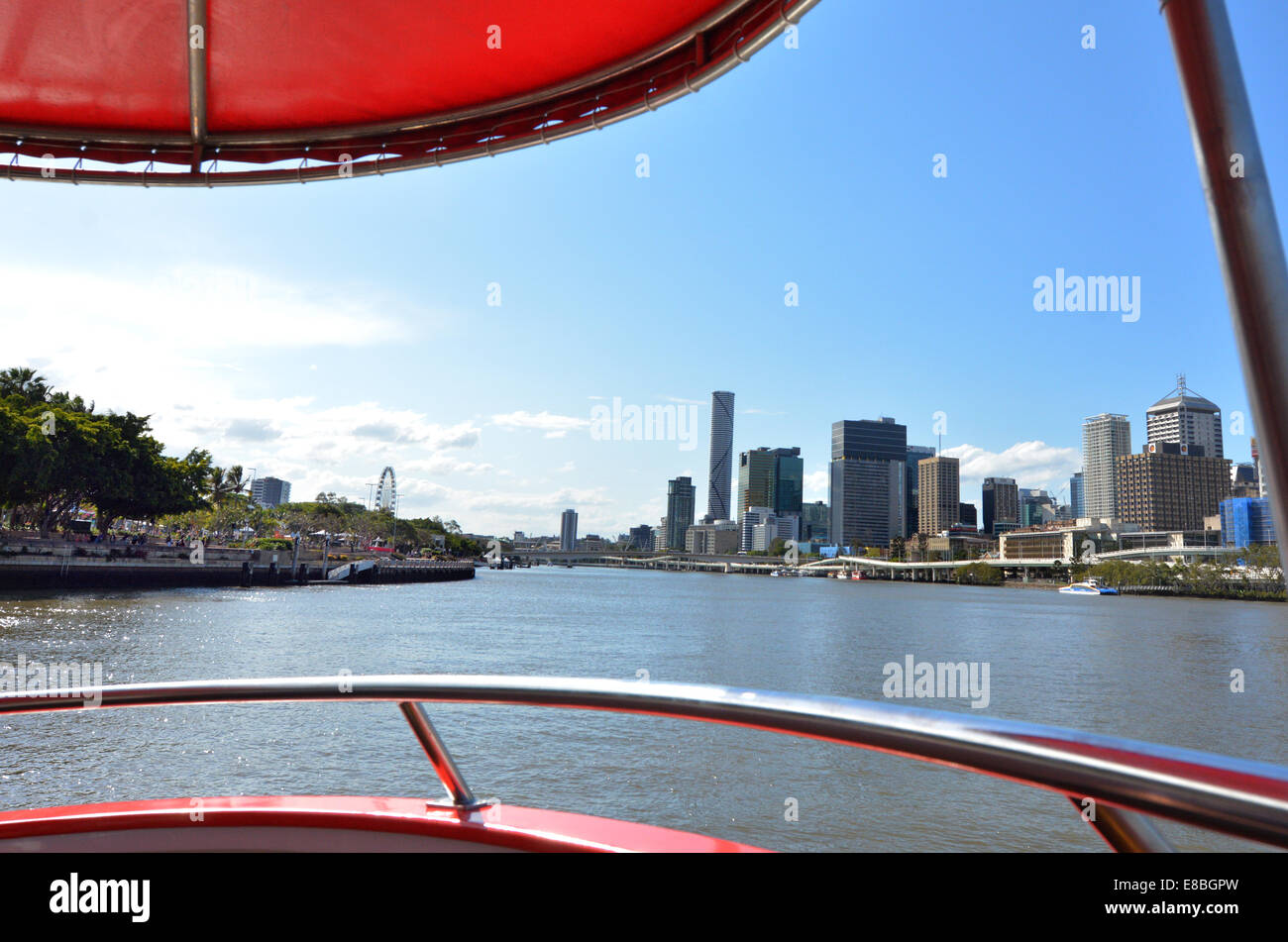 BRISBANE, AUS - SEP 24 2014:Brisbane Skyline from a ferry boat.Brisbane was founded as a penal settlement, established - Stock Image