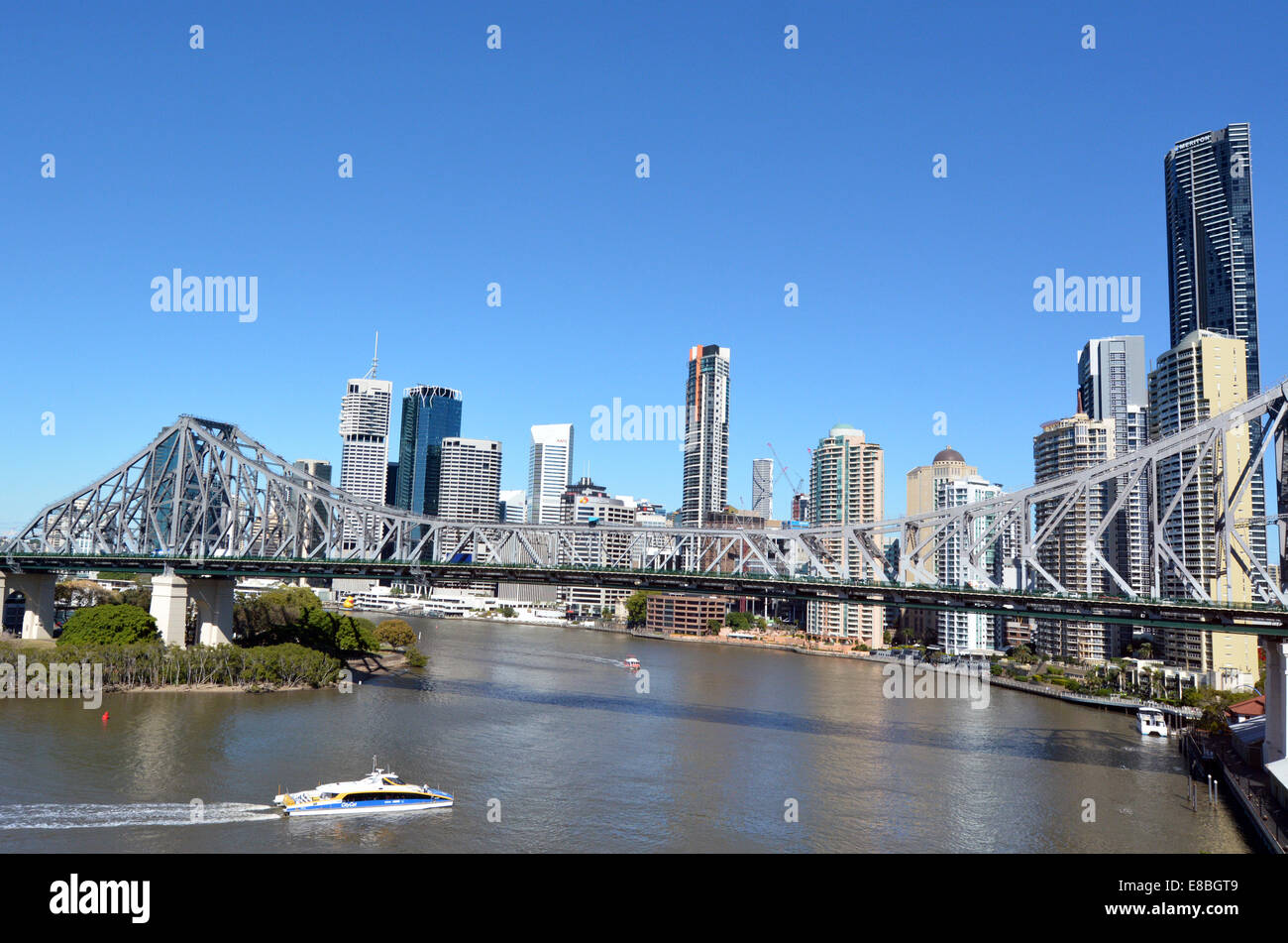 BRISBANE, AUS - SEP 24 2014:Brisbane Skyline.It's Queenslands administrative, educational, and cultural capital. - Stock Image