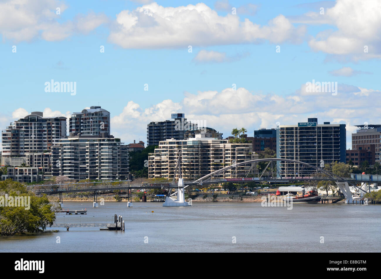BRISBANE, AUS - SEP 24 2014:Goodwill Bridge with Brisbane Skyline.The city core occupies about 1 square mile (3 - Stock Image