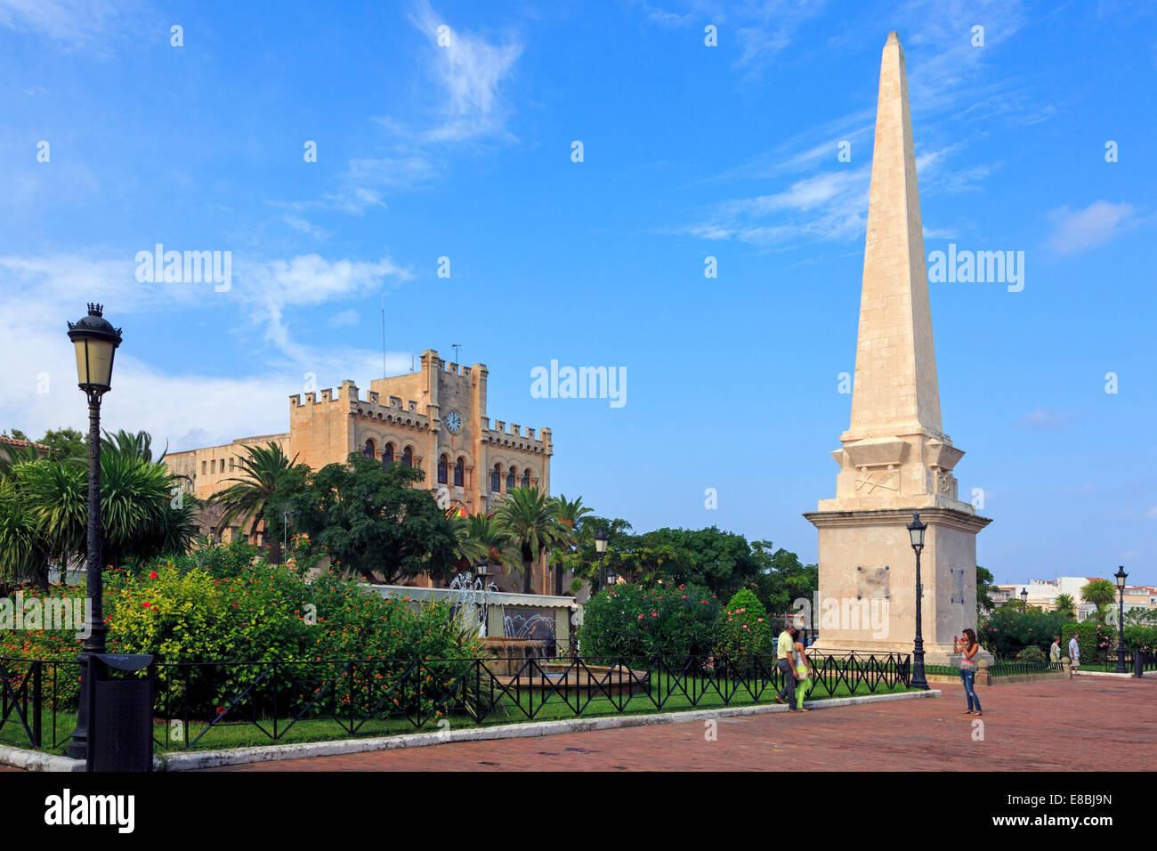 Placa des Born with the Adjuntament de Ciutadella in the middle, Ciutadella, Menorca, Spain - Stock Image
