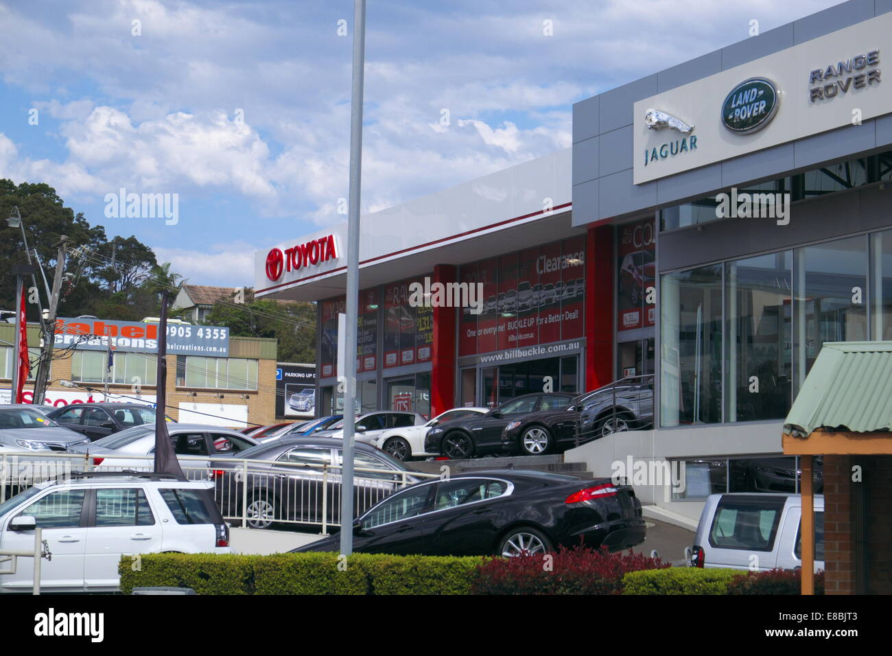 toyota jaguar and land rover car dealerships showrooms in brookvale,sydney,australia - Stock Image