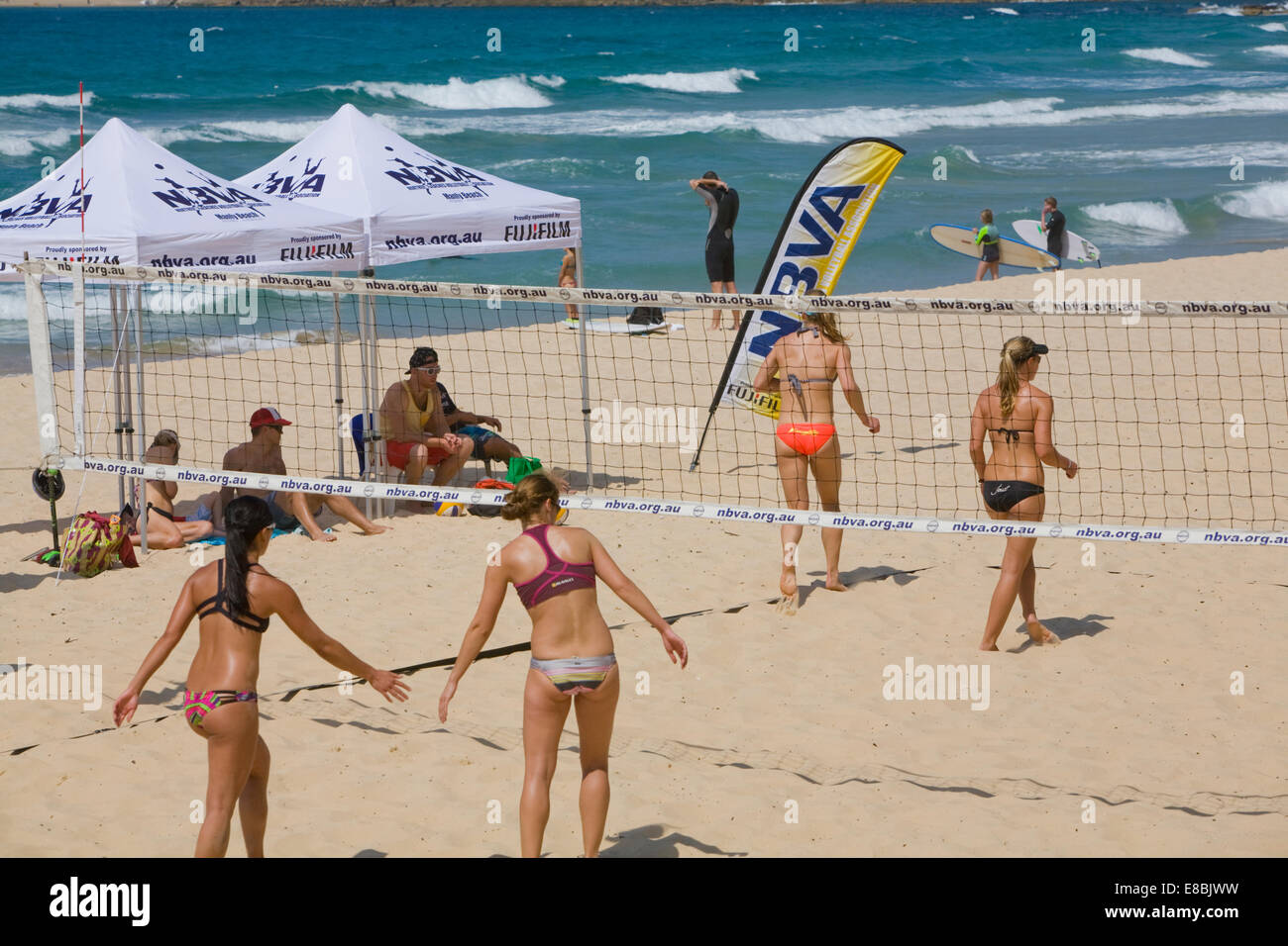 Beach Volleyball Being Played On A Court At Manly Stock Photo Alamy