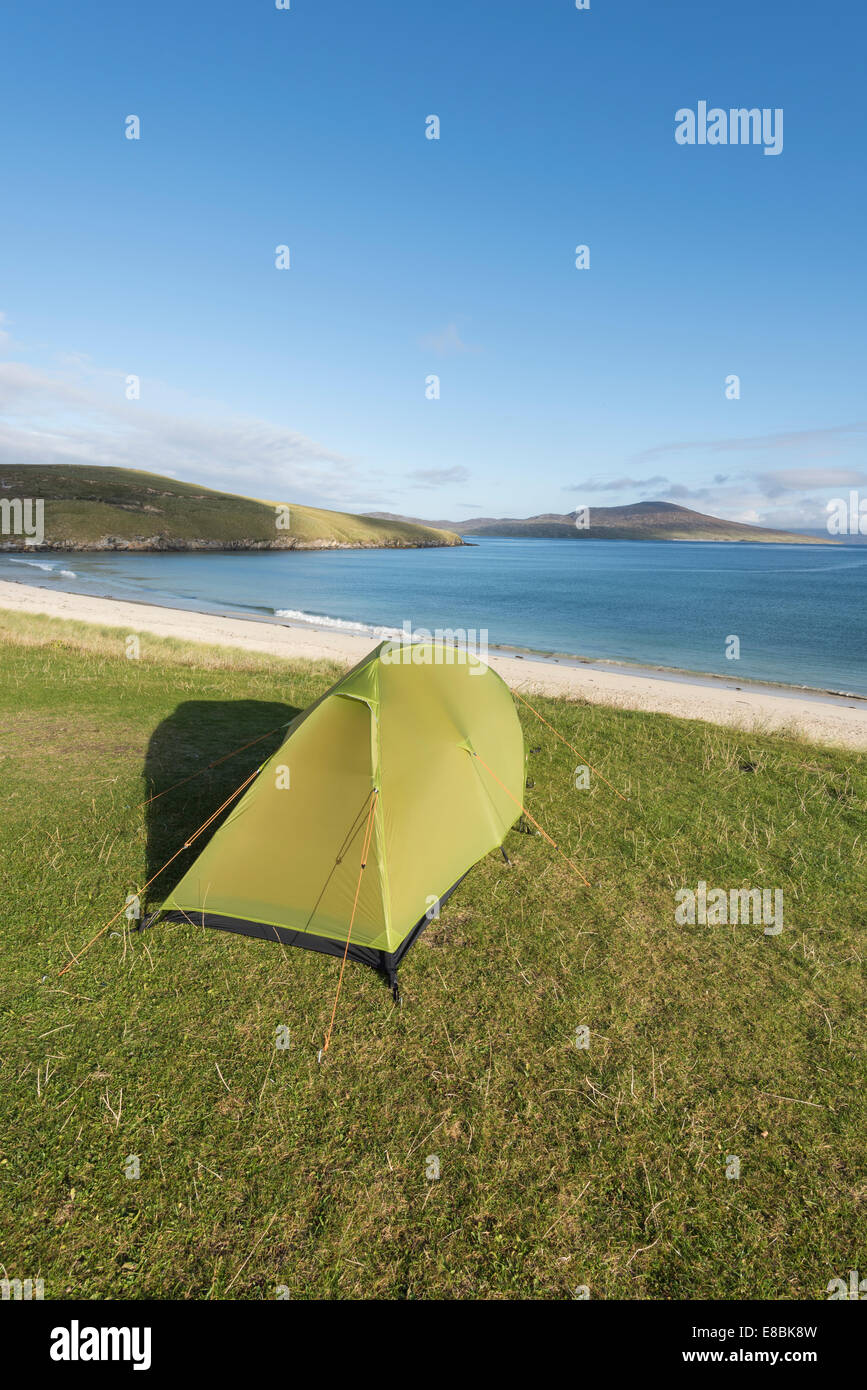 Camping at Horgabost, Isle of Harris, Outer Hebrides, Scotland - Stock Image