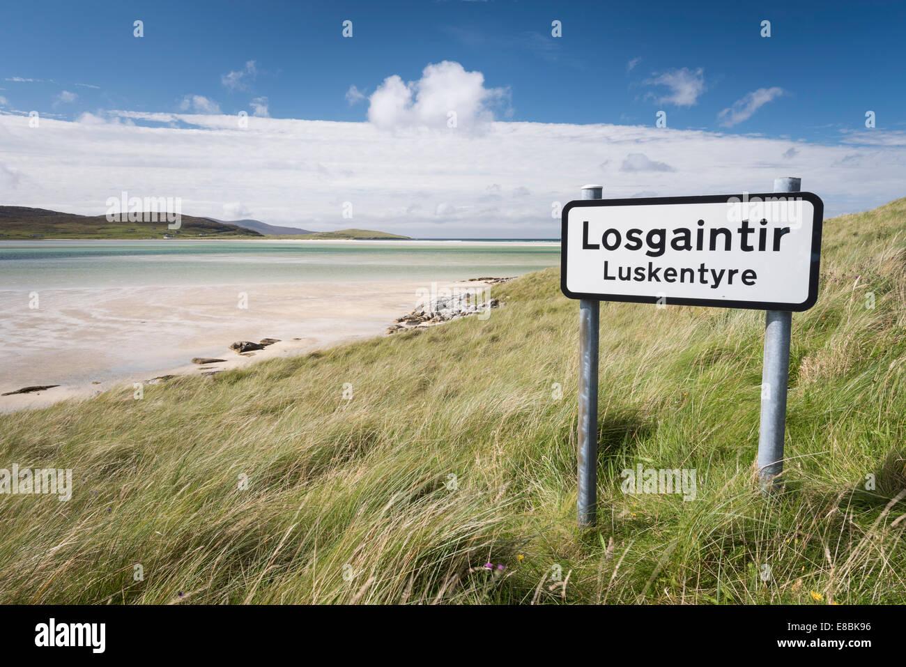 Roadsign at Luskentyre Beach, Isle of Harris, Outer Hebrides, Scotland - Stock Image