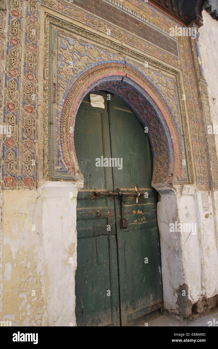 Superb Traditional Decorated Ancient Doorway In Medina. Green Painted  Wooden Door.Islamic Decoration