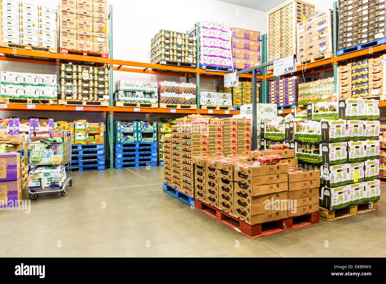 fresh produce cold room in a costco store stock photo