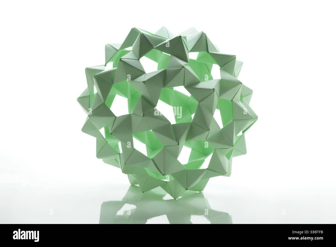 Modular origami polyhedron - Stock Image