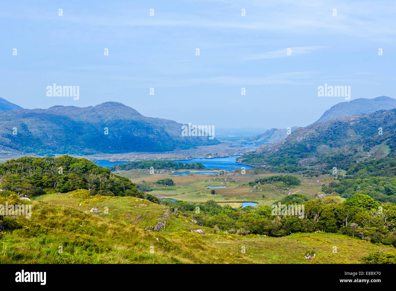The Lakes of Killarney seen from Ladies View on N71 Ring of Kerry, Killarney National Park, County Kerry, Republic - Stock Image