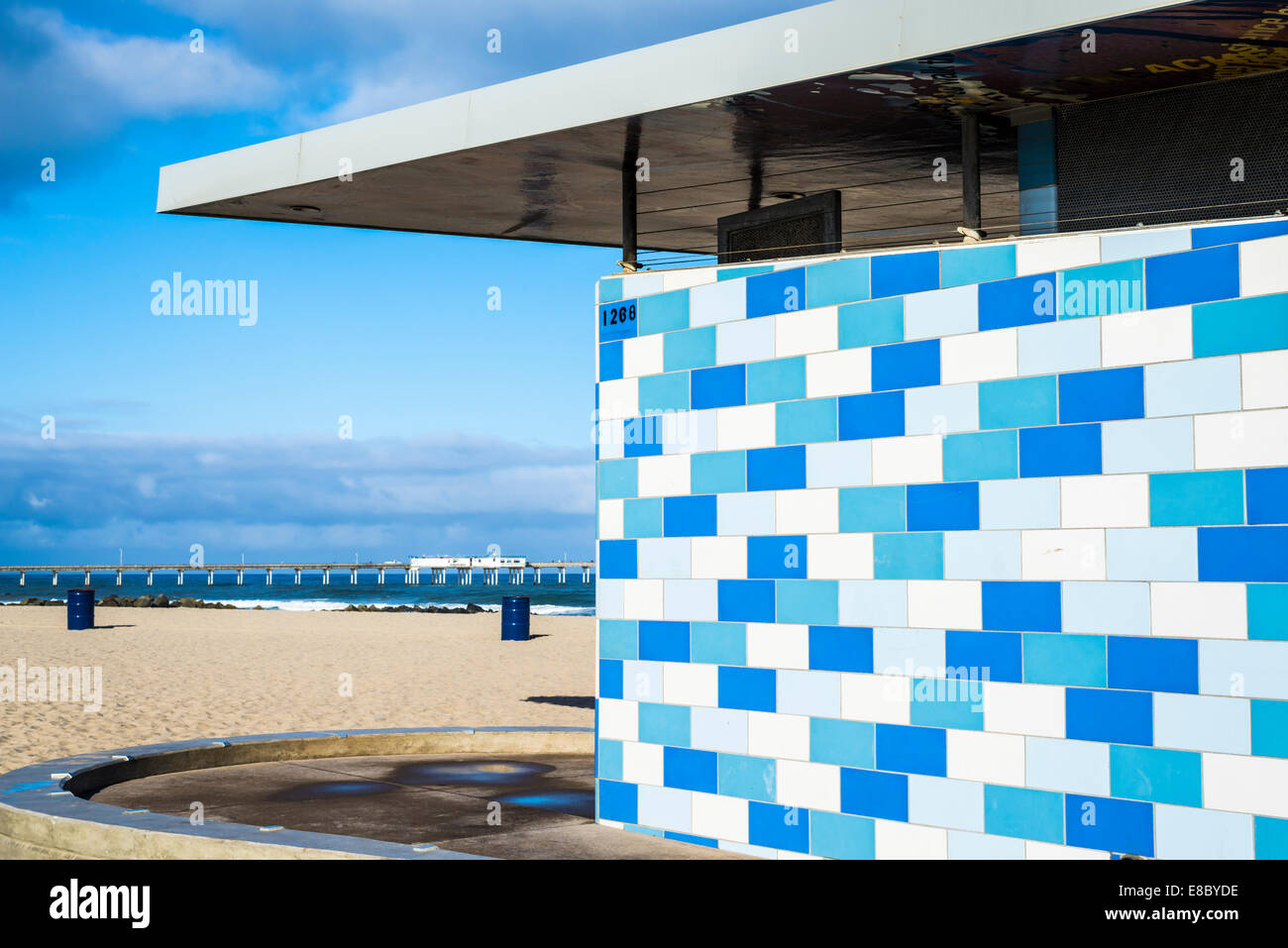 Colorful mosaic tile pattern on public restroom building at Ocean ...