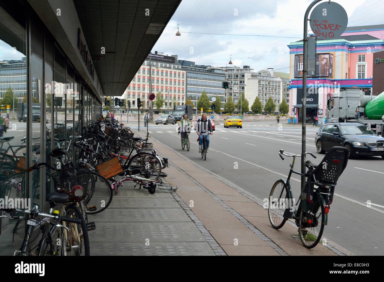 Bicycles in front of hotel, Copenhagen, Denmark 140818_623775 - Stock Image