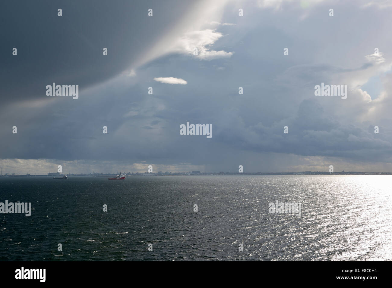Baltic Sea Squall Line, View from Copenhagen Ferry to Oslo, Norway 140818_62376 - Stock Image
