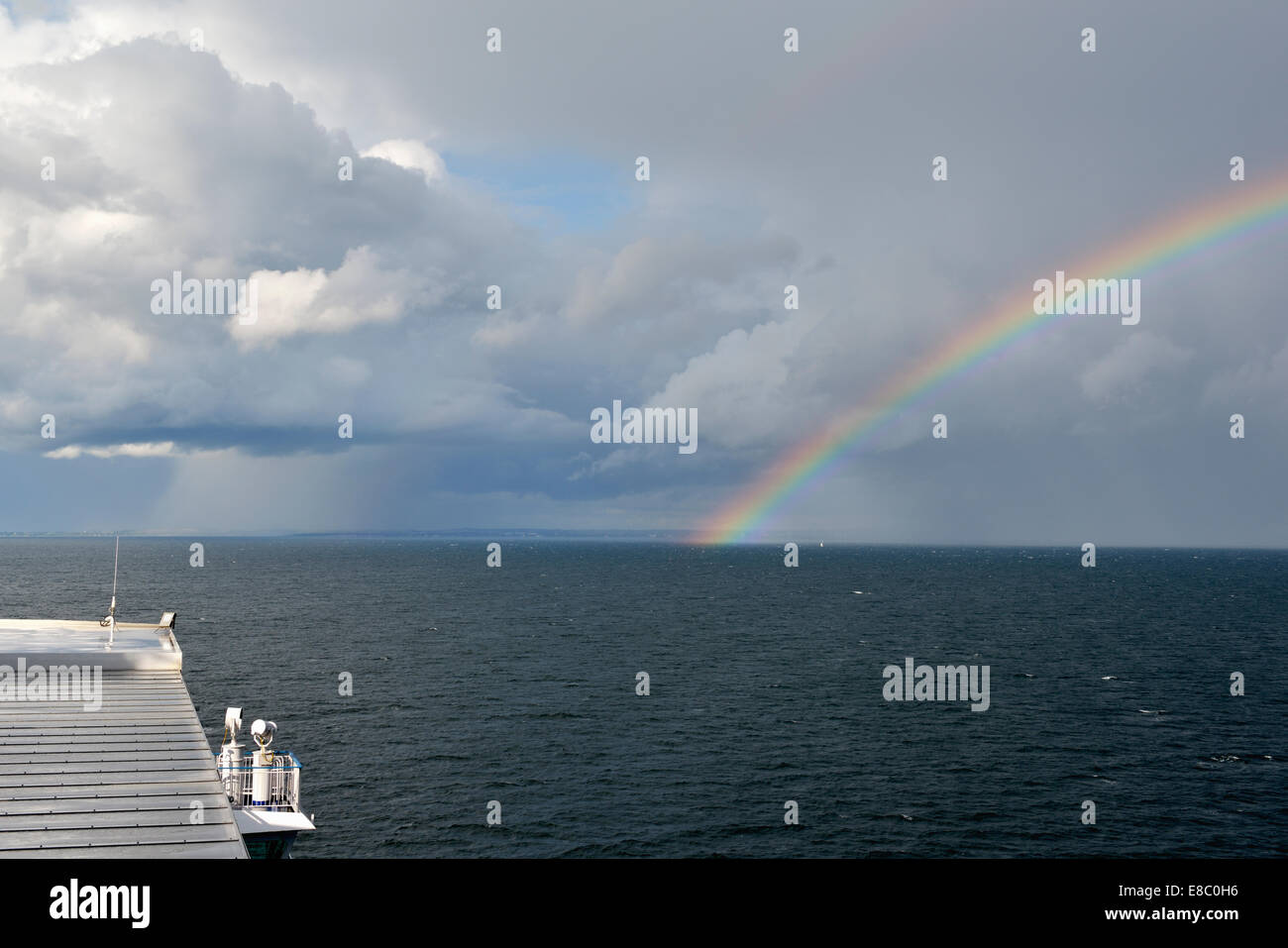 Baltic Sea Squall, View from Copenhagen Ferry to Oslo, Norway 140818_62381 - Stock Image