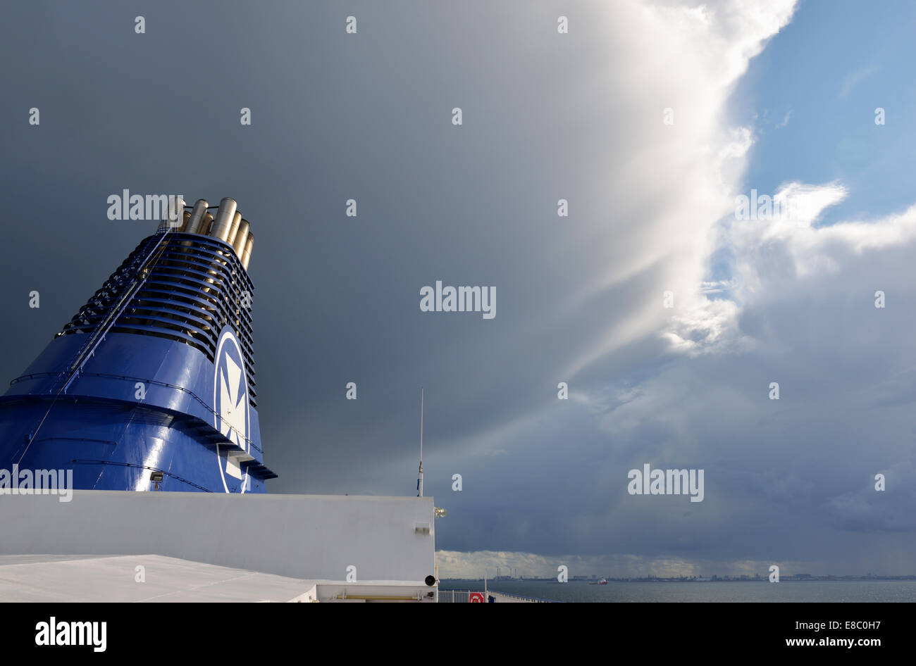 Baltic Sea Squall, View from Copenhagen Ferry to Oslo, Norway 140818_62382 - Stock Image