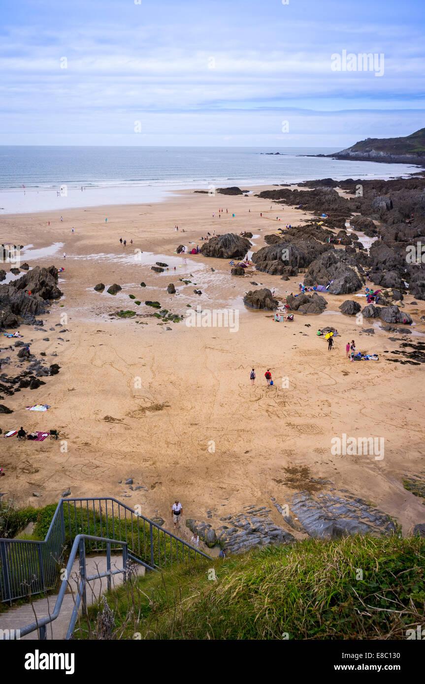 People on Woolacombe Beach, North Devon, Britain. Stock Photo