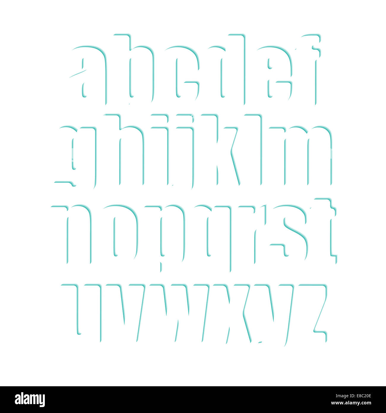 set of white alphabet letters with blue shadow  stylish type font