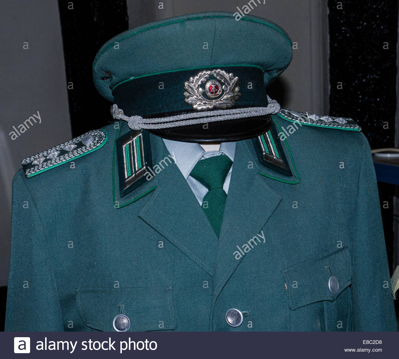 Berlin Germany East DDR Volks Army Captain Uniform Cold War - Stock Image