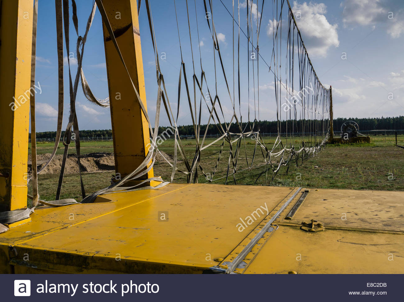 Finow, Germany East DDR, Museum Russian Cold War Base Aircraft Arrester Barrier remains Stock Photo