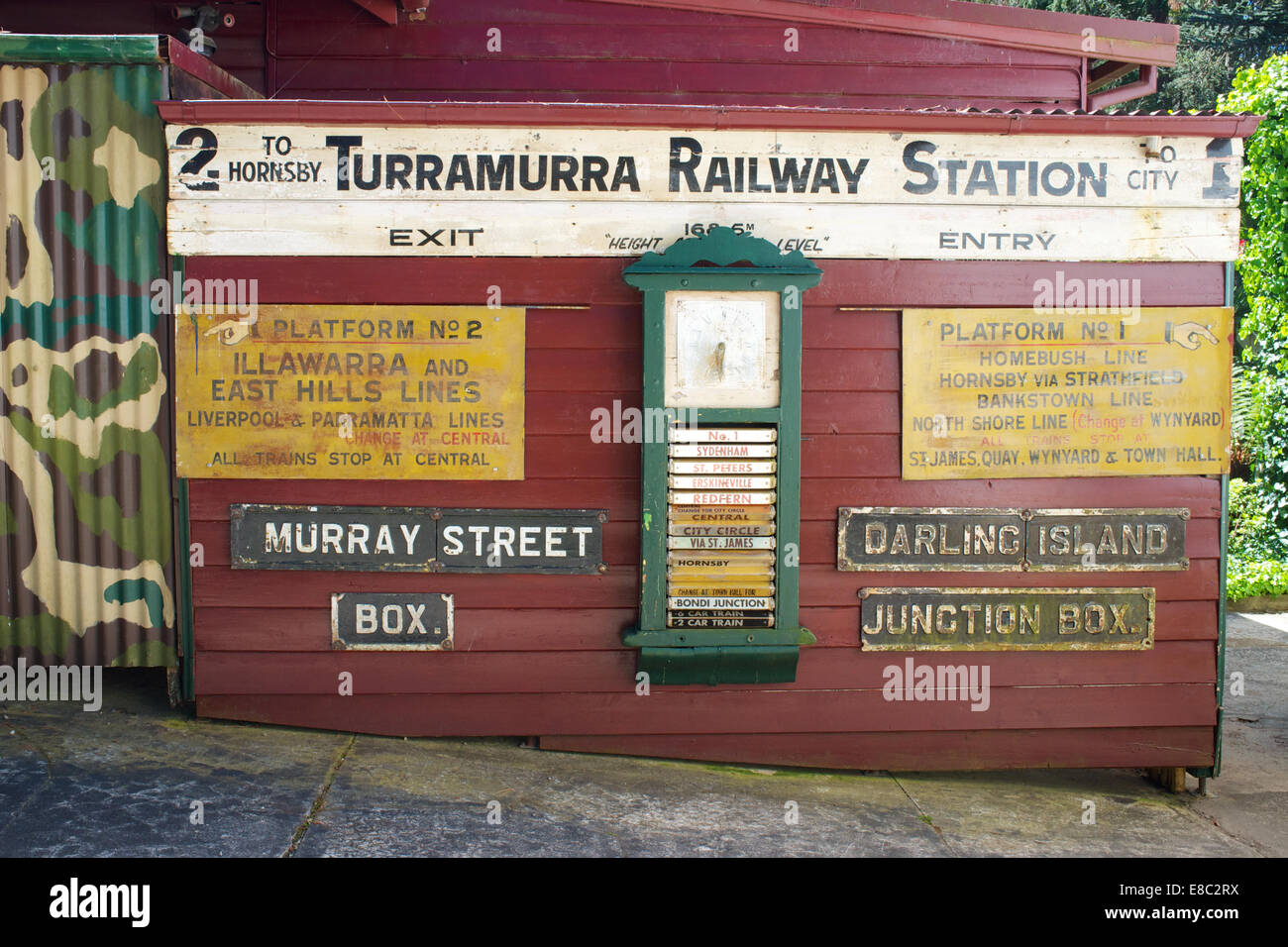 Railway memorabilia preserved in the gardens of the Toy and Train Museum in Leura, New South Wales - Stock Image