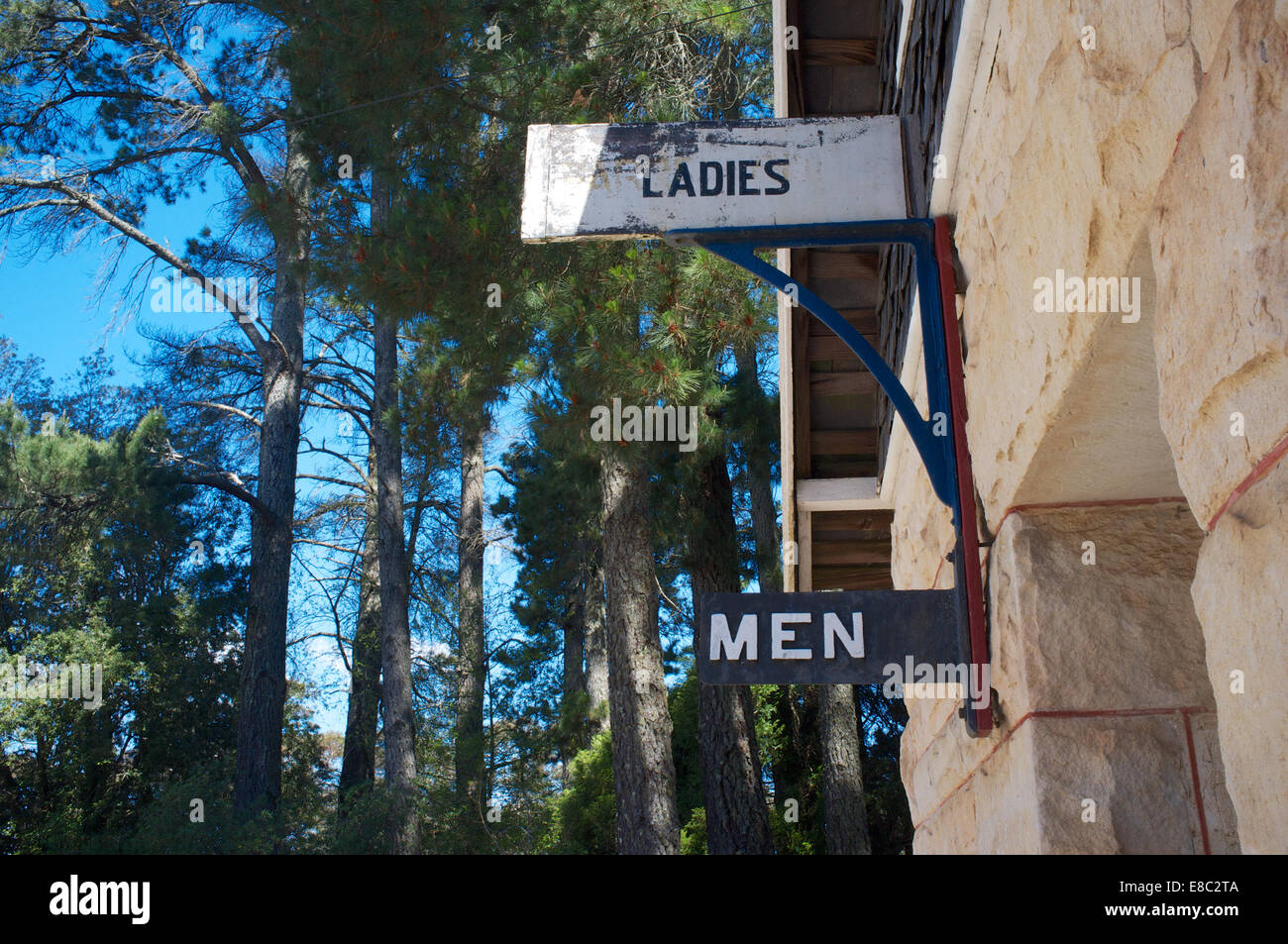 Ladies and Men: railway memorabilia preserved in the gardens of the Toy and Train Museum in Leura, New South Wales - Stock Image