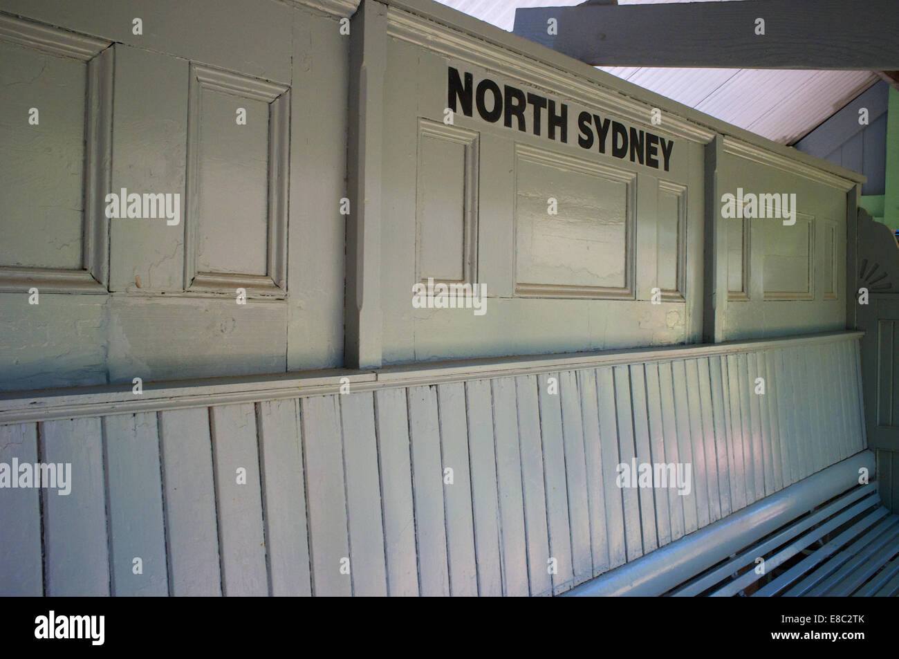 Former North Sydney station platform furniture preserved in the gardens of the Toy and Train Museum in Leura, New - Stock Image