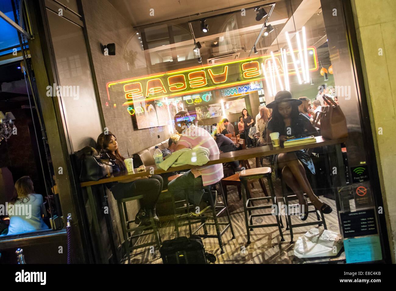 Cafe on Wardour Street, Soho, London, United Kingdom - Stock Image