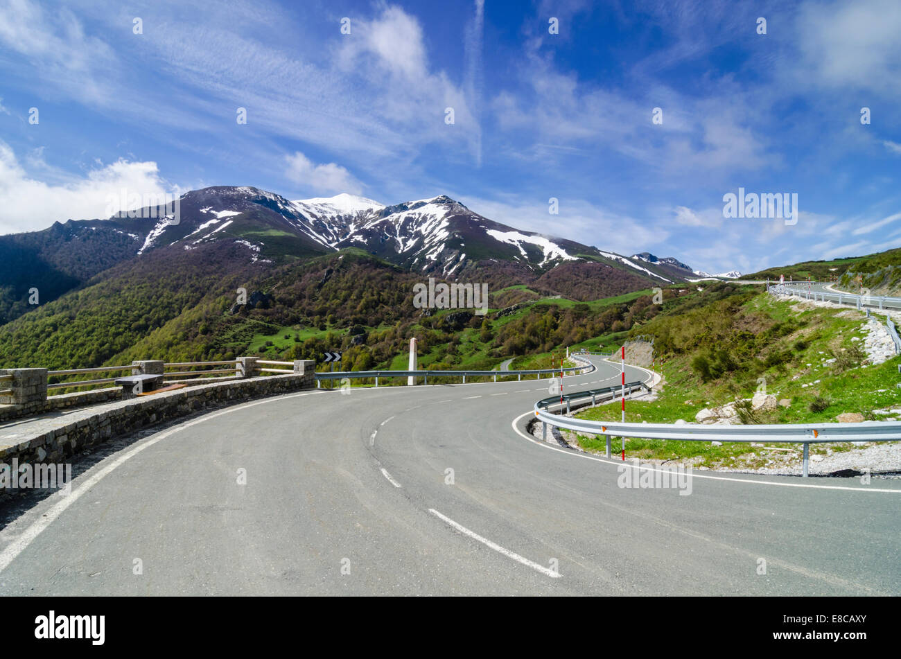 Empty road in the mountains of Cantabria, Spain - Stock Image