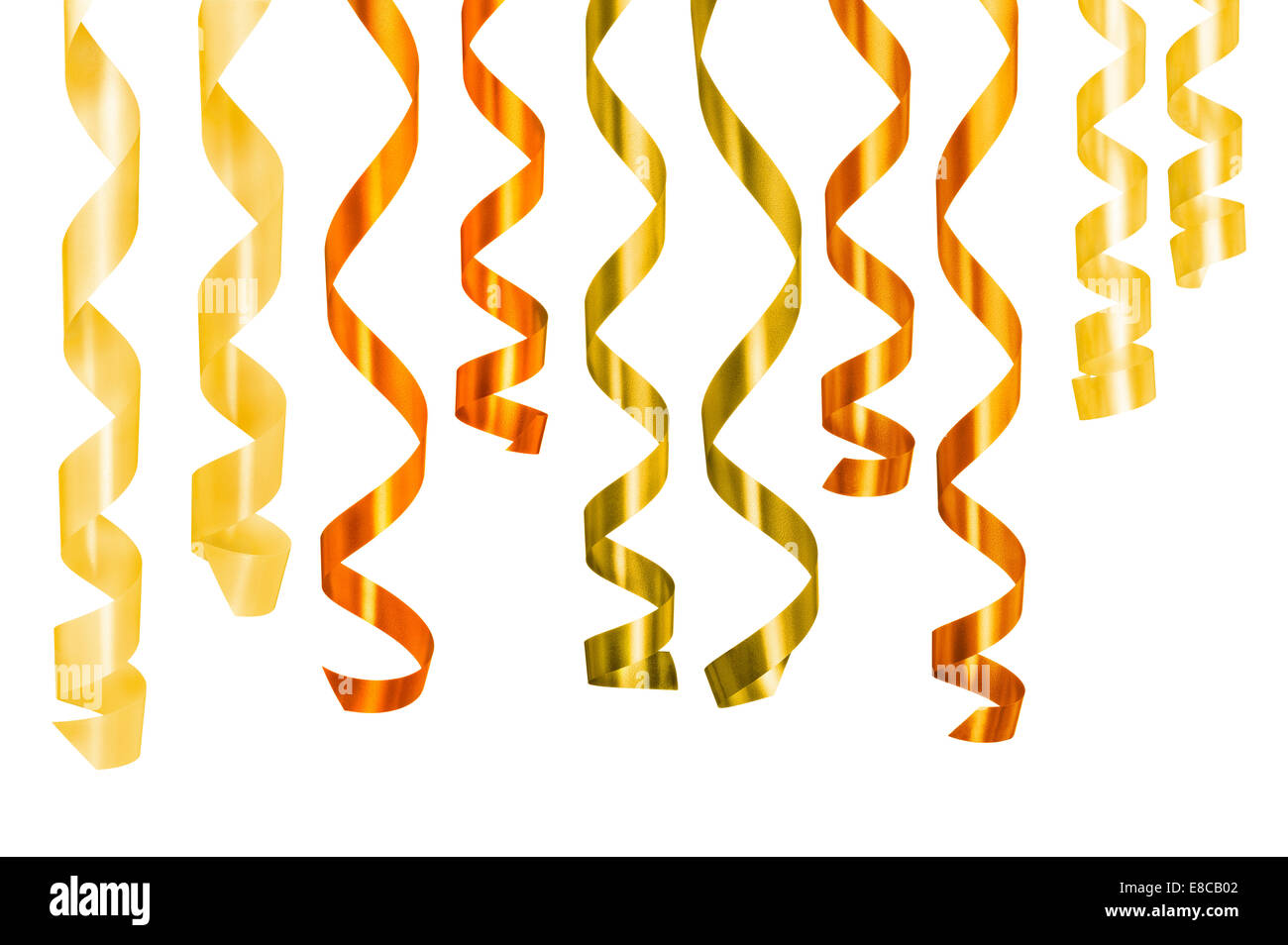 Different ribbons gift hanging against white background. Clipping path - Stock Image