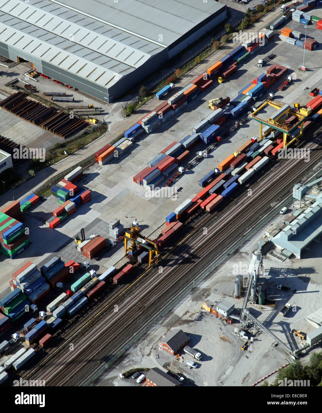 aerial view of a container depot - Stock Image